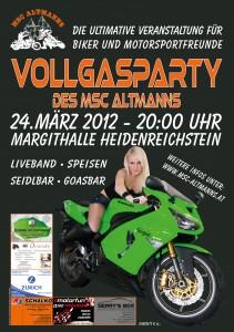 Plakat der Vollgasparty des MSC Altmanns gestaltet von www.cj-grafik.at