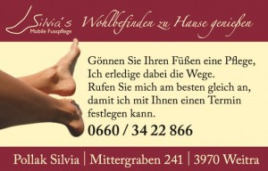 Silvias Mobile Fußpflege - Visitenkarten