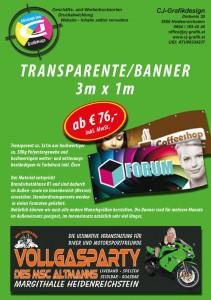 Transparente und Banner Werbung. 3m x1m um nur € 76,- inkl. MwSt. erhältlich bei http://www.cj-grafik.at